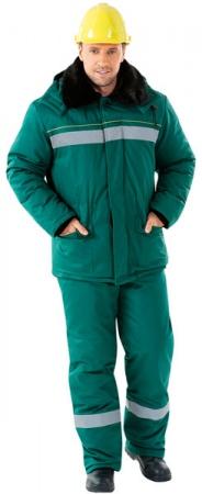 Зимняя рабочая куртка АЛТАЙ с СОП зеленая. Уменьшенная фотография.