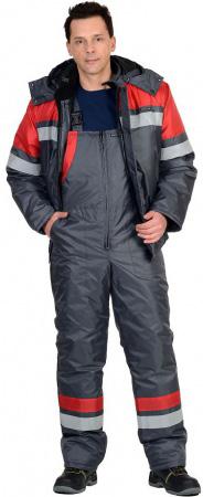 """Костюм """"ОРБИТА"""" зимний: куртка кор.,п/комб. серый с красным и СОП. Уменьшенная фотография."""