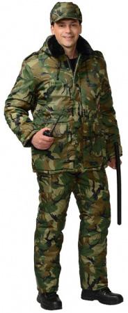 """Костюм &quotБезопасность"""" зимний: куртка дл., п/комб. КМФ зеленый. Уменьшенная фотография."""