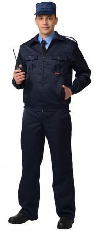"""Костюм """"СИРИУС-Альфа"""" куртка, брюки (тк.смесовая) черный. Уменьшенная фотография."""