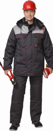 """Костюм """"ФАВОРИТ"""" зимний: куртка дл., брюки тёмно-серый с серым. Уменьшенная фотография."""