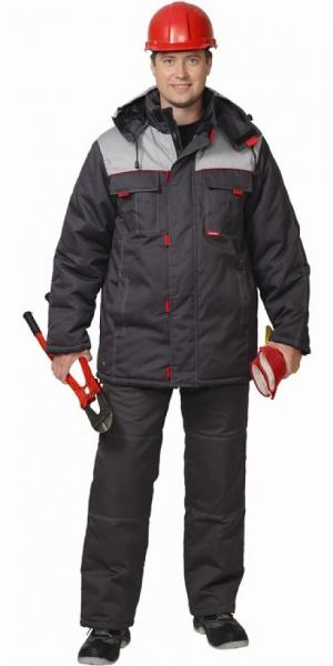 "Костюм ""ФАВОРИТ"" зимний: куртка дл., брюки тёмно-серый с серым"
