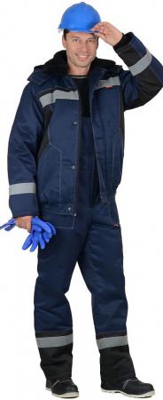 "Костюм ""МАСТЕР-Д"" : куртка кор.,п/комб. тёмно-синий с СОП. Уменьшенная фотография."