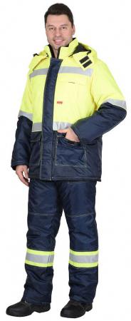 """Костюм """"ТЕРМИНАЛ"""" зимний: куртка, п/комб. лимонный с синим тк. Оксфорд. Уменьшенная фотография."""