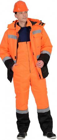 """Костюм """"МАГИСТРАЛЬ-УЛЬТРА"""" зимний: куртка, п/комб. оранжевый с черным. Уменьшенная фотография."""