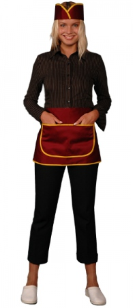 Фартук официанта продавца укороченный цвет вишня. Уменьшенная фотография.