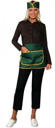 Фартук официанта продавца укороченный зеленый. Уменьшенная фотография.