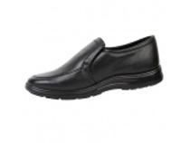 Туфли мужские на резинке черные иск. кожа. Уменьшенная фотография.