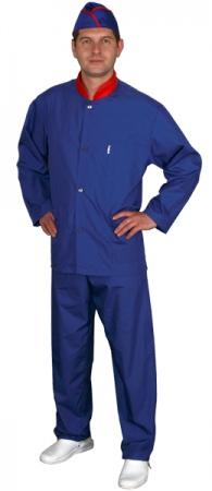 Куртка поварская синяя мод.0176b. Уменьшенная фотография.