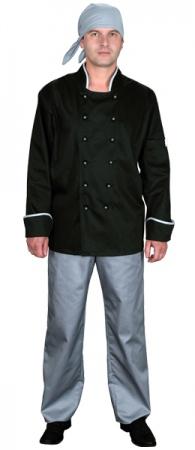 Куртка поварская черная мод.0296d-gr. Уменьшенная фотография.