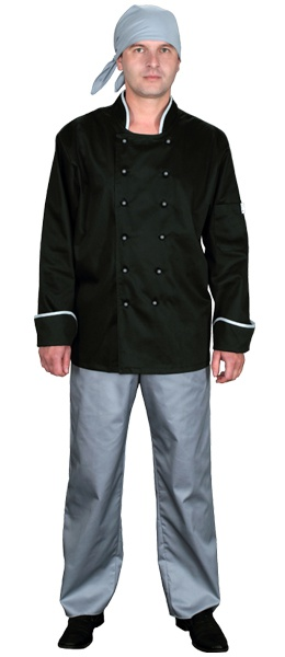 Куртка поварская черная мод.0296d-gr
