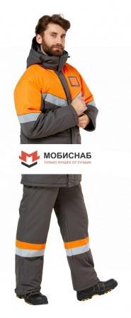 """Костюм рабочий мужской зимний """"Илион"""" цвет графит/оранжевый. Уменьшенная фотография."""