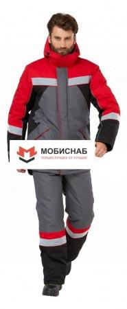 """Костюм рабочий мужской зимний """"Памир"""" цвет серый/черный/красный. Уменьшенная фотография."""