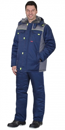 """Костюм """"ФАВОРИТ"""" зимний: куртка, брюки т.синий со ср.серым. Уменьшенная фотография."""