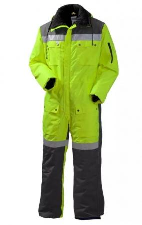 Зимний рабочий комбинезон с капюшоном жёлто-серый сверхзаметный. Уменьшенная фотография.