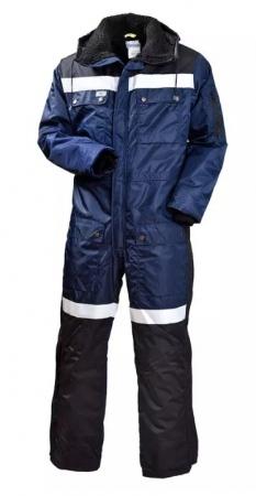 Зимний рабочий комбинезон с капюшоном сине-чёрный. Уменьшенная фотография.