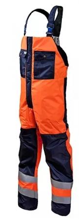 Полукомбинезон мужской зимний рабочий сигнальный для дорожных рабочих оранжево-синий. Уменьшенная фотография.