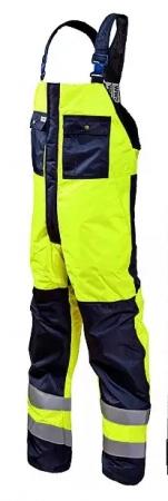 Полукомбинезон мужской зимний рабочий сигнальный для дорожных рабочих желто-синий. Уменьшенная фотография.