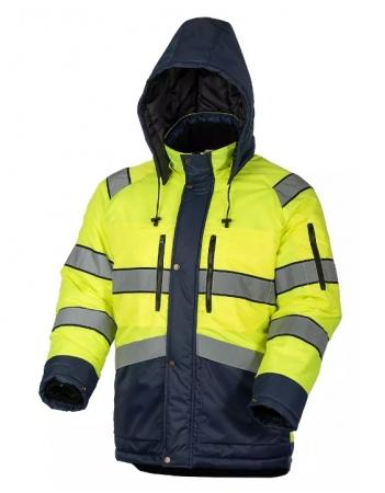 Куртка сигнальная зимняя мужская дорожного рабочего желто-синяя. Уменьшенная фотография.