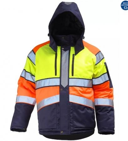 Куртка сигнальная зимняя мужская дорожного рабочего трехцветная на стеганой подкладке. Уменьшенная фотография.