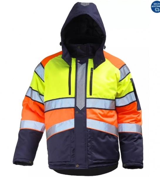 Куртка сигнальная зимняя мужская дорожного рабочего трехцветная на стеганой подкладке