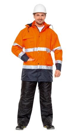 Куртка CERVA МАЛАБАР оранжевая флуор с тем-синим. Уменьшенная фотография.