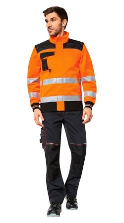 Куртка CERVA НОКСФИЛД ХАЙ-ВИЗ оранжевая флуор с черным. Уменьшенная фотография.