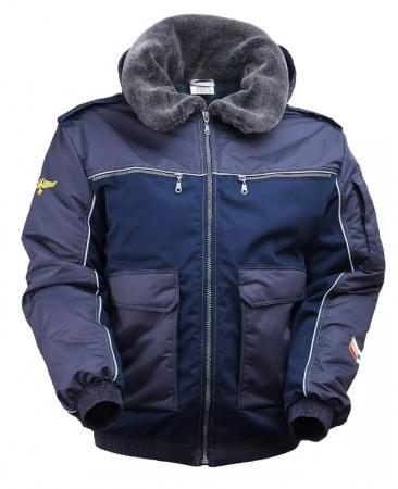 Куртка пилот мужская зимняя рабочая тёмно-синяя  на подкладке из искусственного меха. Уменьшенная фотография.