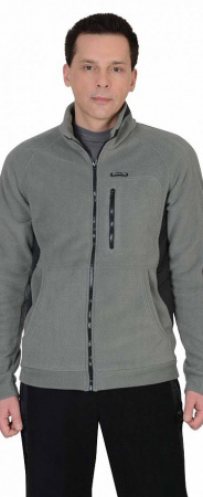 """Куртка флисовая """"СИРИУС-Актив"""" серая отделка черная. Уменьшенная фотография."""