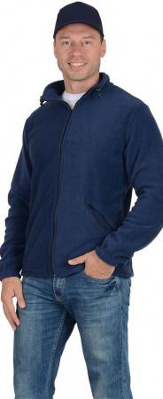 Куртка флисовая 260г/кв.м темно-синяя. Уменьшенная фотография.