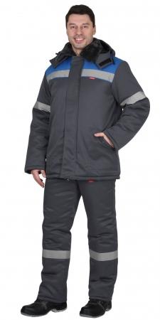 """Костюм """"Рост-Арктика"""" куртка, брюки, т.серый с васильковым и СОП 50 мм. Уменьшенная фотография."""