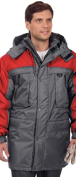 Мужская утепленная куртка ИТР ДРАЙВ серая с красным