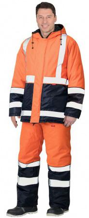 """Костюм """"МАГИСТРАЛЬ-3"""" куртка, п/к, синий с оранж. и СОП 50мм тк.Оксфорд. Уменьшенная фотография."""