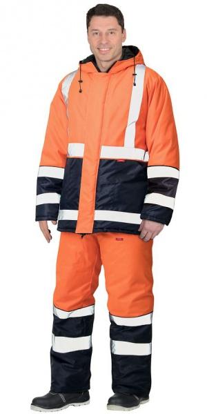 """Костюм """"МАГИСТРАЛЬ-3"""" куртка, п/к, синий с оранж. и СОП 50мм тк.Оксфорд"""