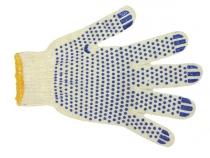 Перчатки трикотажные ПВХ Точка класс 7, 4-х нитка. Уменьшенная фотография.