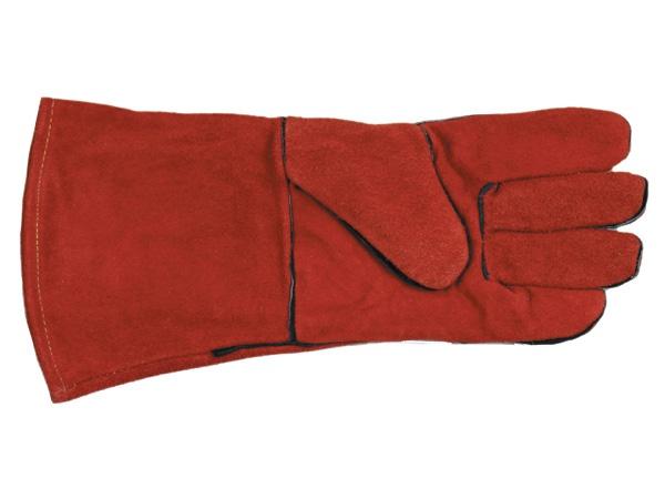 Купить Краги спилковые пятипалые красные с подкладкой