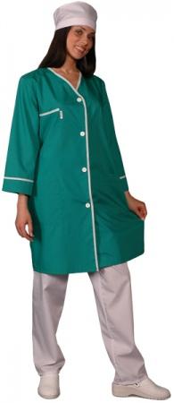 Халат медицинский женский с рукавом 7/8 зеленый. Уменьшенная фотография.