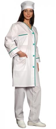 Халат медицинский женский с рукавом 7/8 белый. Уменьшенная фотография.