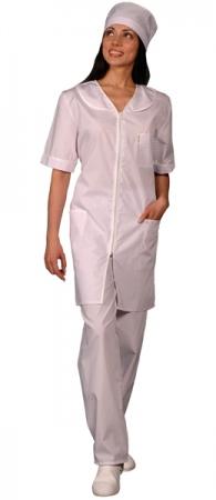 Халат медицинский женский укороченный белый. Уменьшенная фотография.