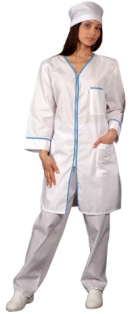 Халат медицинский женский белый на молнии. Уменьшенная фотография.