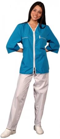 Медицинская куртка синяя с застежкой молния. Уменьшенная фотография.
