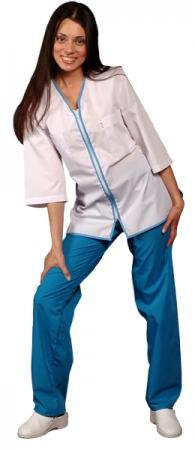 Медицинская куртка белая с застежкой молния. Уменьшенная фотография.