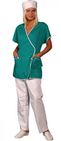 Медицинская куртка зеленая на запах. Уменьшенная фотография.