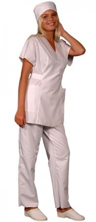 Медицинская куртка белая на запах. Уменьшенная фотография.