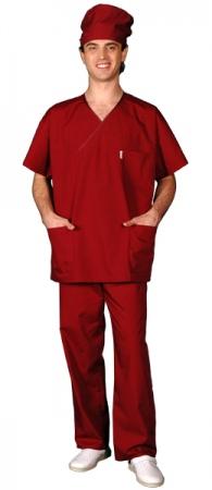 Костюм хирурга массажиста вишневый. Уменьшенная фотография.