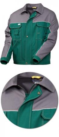 Куртка рабочая 4395-24-58 хлопок зеленый с серым. Уменьшенная фотография.