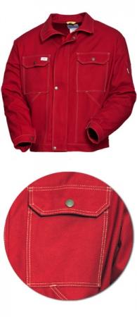 Красная рабочая  куртка SWW модель 471-83 100% хлопок. Уменьшенная фотография.