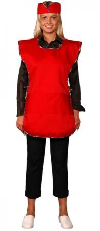Фартук официанта продавца в комплекте красный. Уменьшенная фотография.