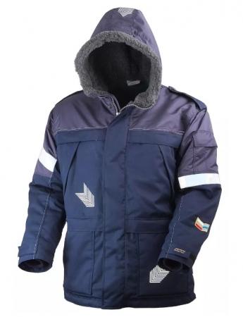Куртка мужская зимняя рабочая тёмно-синяя на подкладке из искусственного меха. Уменьшенная фотография.