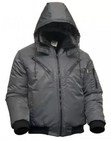 Куртка пилот мужская зимняя тёмно-серая на стеганой подкладке. Уменьшенная фотография.